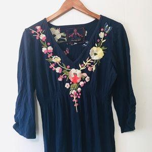 • johnny was LA boho cotton embroidered dress •